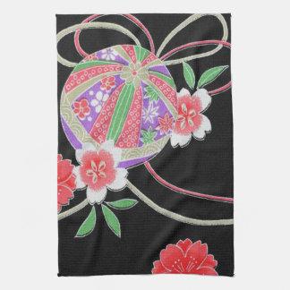 Japanese KIMONO Textile, Floret Pattern Hand Towel