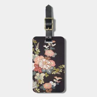Japanese KIMONO Textile, Floret Pattern Luggage Tags