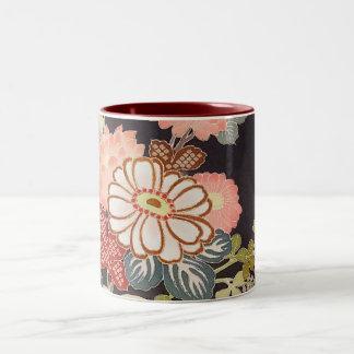 Japanese KIMONO Textile, Floret Pattern Two-Tone Coffee Mug