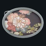 """Japanese KIMONO Textile, Floret Pattern Oval Belt Buckle<br><div class=""""desc"""">This is a textile design of a Japanese Kimono.</div>"""