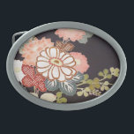 "Japanese KIMONO Textile, Floret Pattern Oval Belt Buckle<br><div class=""desc"">This is a textile design of a Japanese Kimono.</div>"