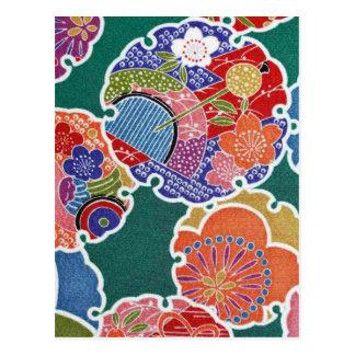 Japanese KIMONO Textile, Floret Pattern Postcard