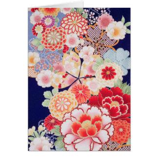Japanese KIMONO Textile, Flower Card