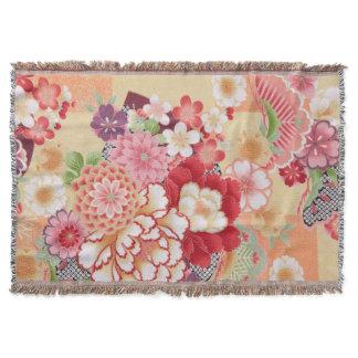 Japanese KIMONO Textile, Flower Throw