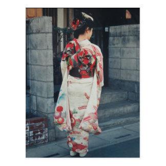 japanese kimono vacation postcard