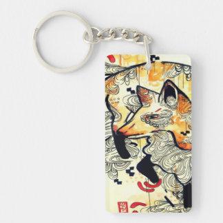 Japanese kitsune fox drawing, orange fox art Double-Sided rectangular acrylic keychain