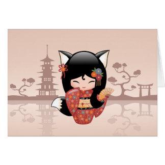 Japanese Kitsune Fox Kokeshi Doll Blank Greeting Card