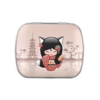 Japanese Kitsune Fox Kokeshi Doll Jelly Belly Candy Tins