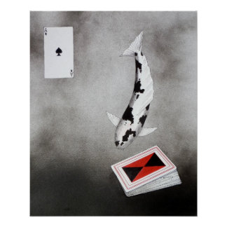 Japanese Koi Ace of spades Poster