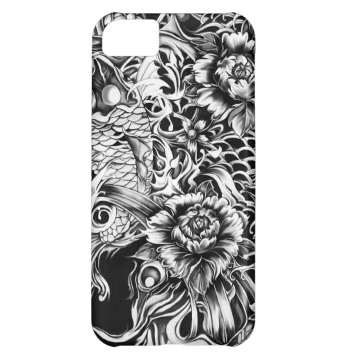 Japanese koi and lotus flowers tattoo style art iPhone 5C cover