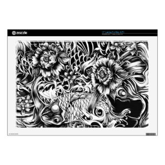 """Japanese koi and lotus flowers tattoo style art decals for 17"""" laptops"""