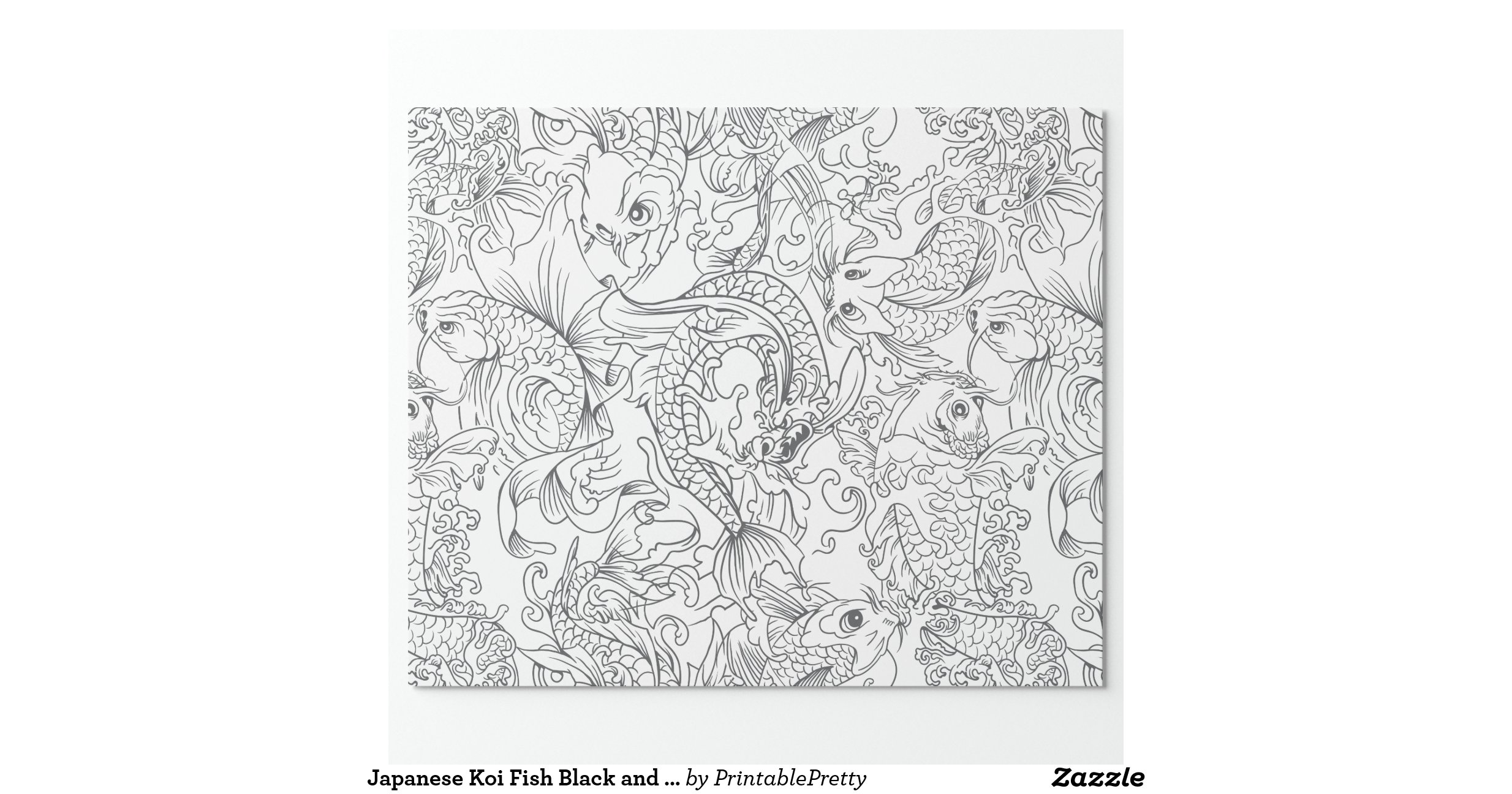 Japanese koi fish black and white pattern wrapping paper for Black and white koi fish