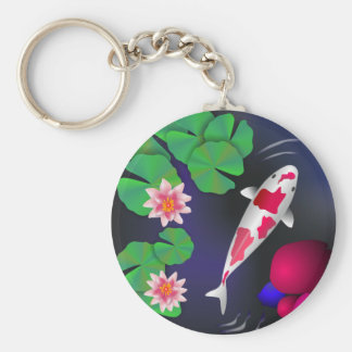 Japanese Koi Fish, Lotus Flowers & Water-lilies Basic Round Button Keychain