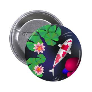 Japanese Koi Fish, Lotus Flowers & Water-lilies Button