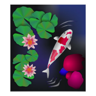 Japanese Koi Fish, Lotus Flowers & Water-lilies Po Poster