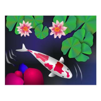 Japanese Koi Fish, Lotus Flowers & Water-lilies Postcard