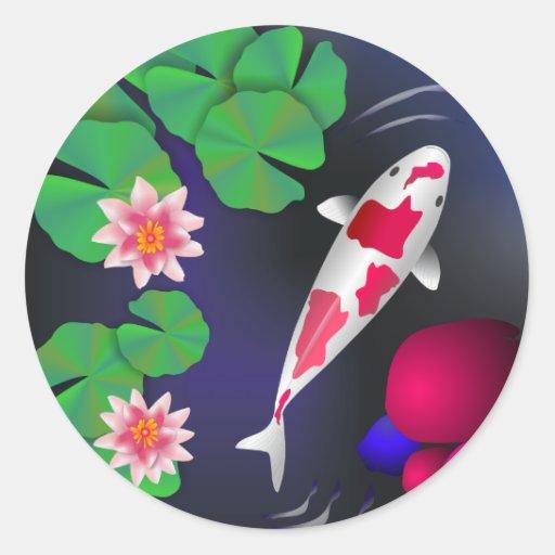 Japanese Koi Fish, Lotus Flowers & Water-lilies Round Sticker