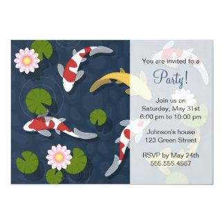 Japanese Koi Fish Pond Party 5x7 Paper Invitation Card