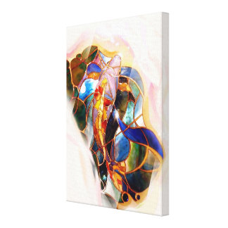 Japanese Koi Fish Stained Glass Art Canvas Print