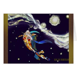 Japanese Koi Fish Universe Fantasy Greeting Card