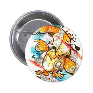 Japanese koi fish, watercolor art, aquatic art pinback button