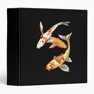 Japanese Koi Goldfish on Black Binder