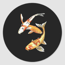 Japanese Koi Goldfish on Black Classic Round Sticker