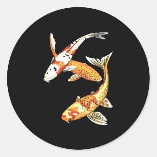 Japanese Koi Goldfish on Black Classic Round Sticker
