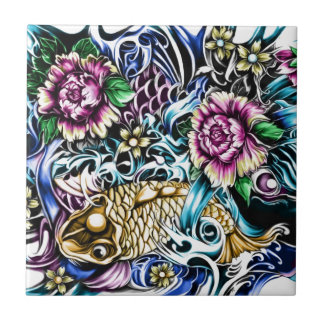 Japanese Koi Tattoo Design Products Ceramic Tile