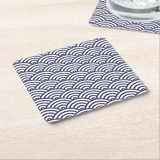 Japanese Koinobori Fish Scale in Delft Blue Square Paper Coaster