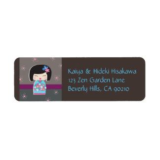 Japanese Kokeshi Doll Address Labels