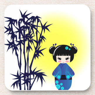 Japanese kokeshi doll at bamboo at sunrise girl coaster