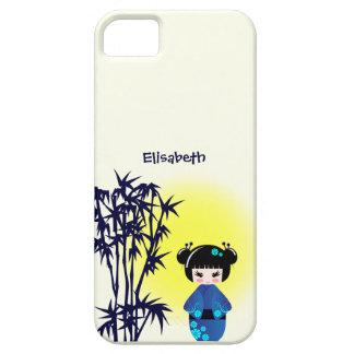 Japanese kokeshi doll at bamboo during sunrise iPhone SE/5/5s case