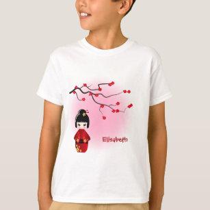 Japanese kokeshi doll at pink sakura name girls T-Shirt