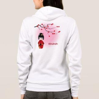 Japanese kokeshi doll at pink sakura name hoodie