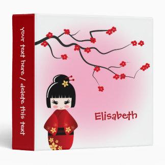 Japanese kokeshi doll at sakura blossoms binder