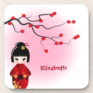 Japanese kokeshi doll at sakura blossoms girls coaster