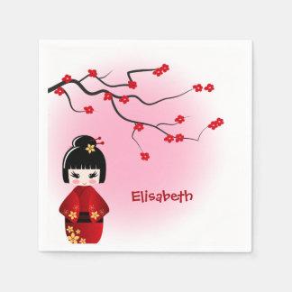Japanese kokeshi doll at sakura blossoms girls paper napkin