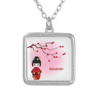 Japanese kokeshi doll at sakura blossoms name silver plated necklace