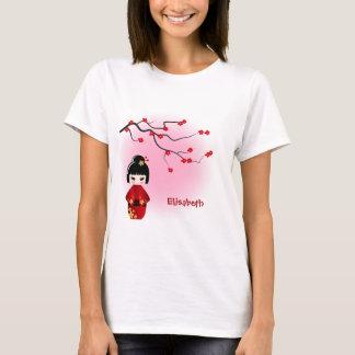 Japanese kokeshi doll at sakura blossoms name T-Shirt