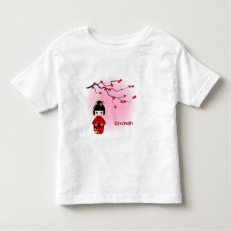 Japanese kokeshi doll at sakura name girl shirt