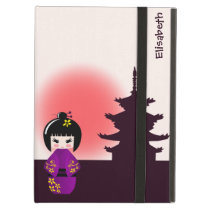 Japanese kokeshi doll at temple during sunset cover for iPad air