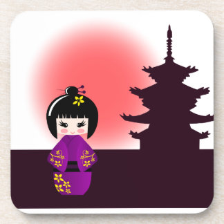 Japanese kokeshi doll at temple during sunset girl coaster