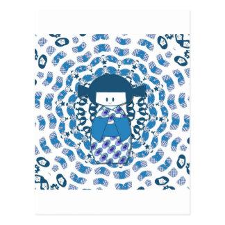 Japanese Kokeshi doll, blue Postcard