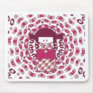 Japanese Kokeshi doll, burgundy Mouse Pad