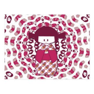 Japanese Kokeshi doll, burgundy Postcard