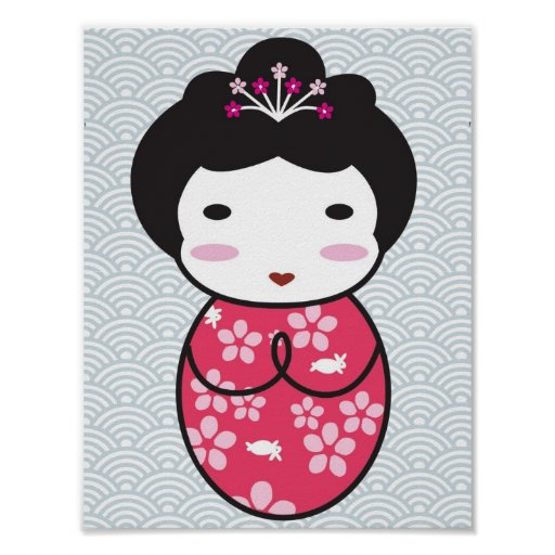 Japanese Kokeshi Doll Poster