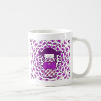 Japanese Kokeshi doll, purple Classic White Coffee Mug