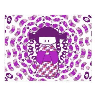 Japanese Kokeshi doll, purple Postcard
