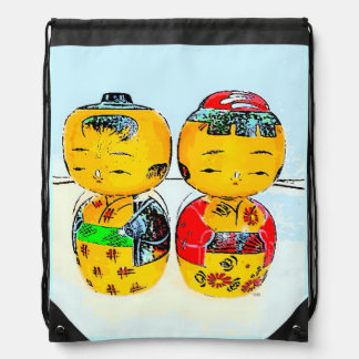 Japanese Kokeshi Dolls Drawstring Bag